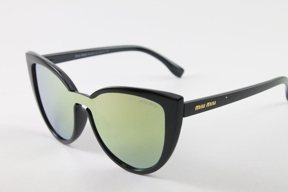 Купить Солнцезащитные зеркальные очки Miu Miu в черной оправе (бренд ) в интернет-магазине todalamoda